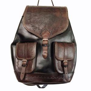 VTG Hand Tooled Boho Large Leather Back Pack
